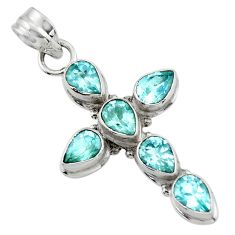 8.63cts natural blue topaz 925 sterling silver holy cross pendant jewelry r47967