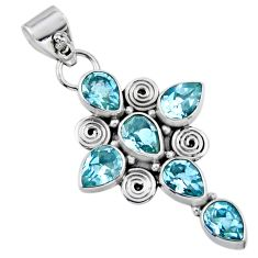 9.54cts natural blue topaz 925 sterling silver holy cross pendant jewelry r55805