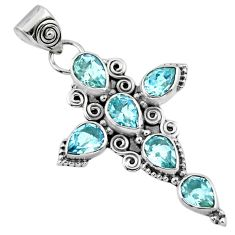 6.76cts natural blue topaz 925 sterling silver holy cross pendant jewelry r55922