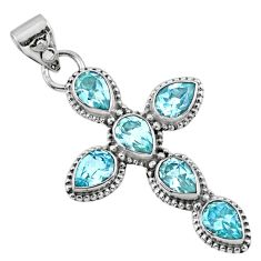 6.58cts natural blue topaz 925 sterling silver holy cross pendant jewelry r55927