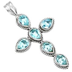 6.83cts natural blue topaz 925 sterling silver holy cross pendant jewelry r55971