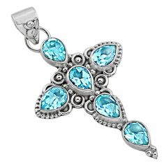 6.76cts natural blue topaz 925 sterling silver holy cross pendant jewelry r65028