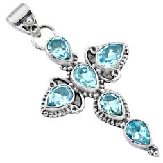 10.30cts natural blue topaz 925 sterling silver holy cross pendant r55856