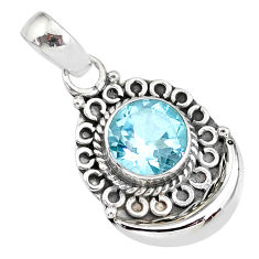2.46cts natural blue topaz 925 sterling silver moon pendant jewelry r89394