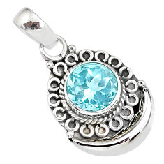 3.11cts natural blue topaz 925 sterling silver moon pendant jewelry r89407