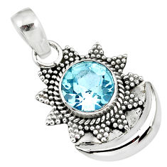 3.11cts natural blue topaz 925 sterling silver moon pendant jewelry r89471