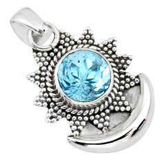 3.02cts natural blue topaz 925 sterling silver moon pendant jewelry r89482