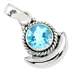 3.03cts natural blue topaz 925 sterling silver moon pendant jewelry r89530