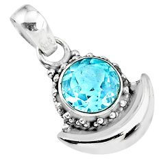 3.23cts natural blue topaz 925 sterling silver moon pendant jewelry r89541