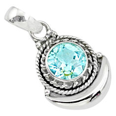 2.84cts natural blue topaz 925 sterling silver moon pendant jewelry r89607