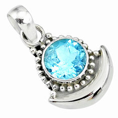 3.02cts natural blue topaz 925 sterling silver moon pendant r89450