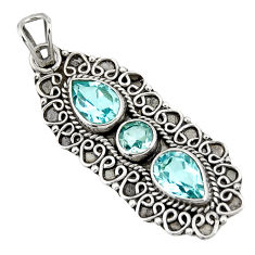 Clearance Sale- 4.02cts natural blue topaz 925 sterling silver pendant jewelry d39232