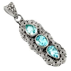 5.51cts natural blue topaz 925 sterling silver pendant jewelry d39263