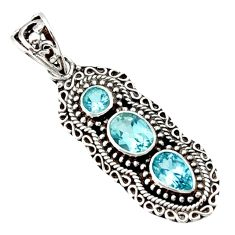 Clearance Sale- 5.35cts natural blue topaz 925 sterling silver pendant jewelry d44823