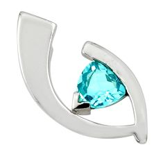 3.11cts natural blue topaz 925 sterling silver pendant jewelry d45638