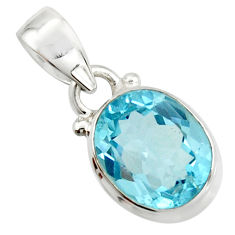 4.92cts natural blue topaz 925 sterling silver pendant jewelry r20665