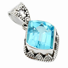 7.13cts natural blue topaz 925 sterling silver pendant jewelry r20681