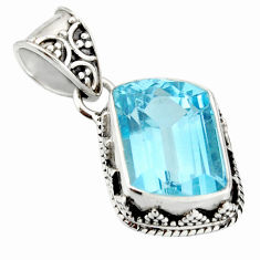 7.58cts natural blue topaz 925 sterling silver pendant jewelry r20682