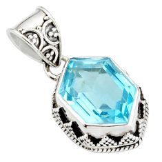 7.36cts natural blue topaz 925 sterling silver pendant jewelry r20685