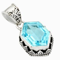 7.58cts natural blue topaz 925 sterling silver pendant jewelry r20688