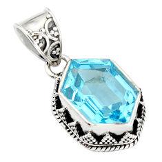 7.73cts natural blue topaz 925 sterling silver pendant jewelry r20689