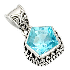 6.18cts natural blue topaz 925 sterling silver pendant jewelry r20694