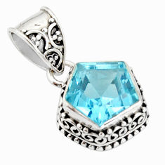 5.49cts natural blue topaz 925 sterling silver pendant jewelry r20700