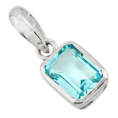 1.95cts natural blue topaz 925 sterling silver pendant jewelry r43487