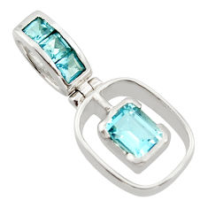 2.57cts natural blue topaz 925 sterling silver pendant jewelry r43605