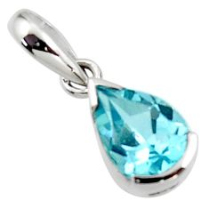 2.35cts natural blue topaz 925 sterling silver pendant jewelry r45590
