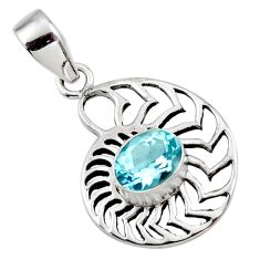 2.92cts natural blue topaz 925 sterling silver pendant jewelry r48307