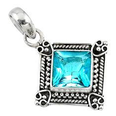 3.51cts natural blue topaz 925 sterling silver pendant jewelry r57745