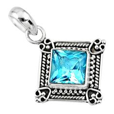3.51cts natural blue topaz 925 sterling silver pendant jewelry r57803