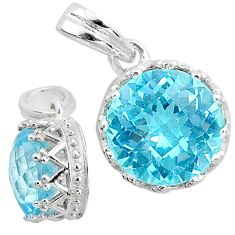 4.71cts natural blue topaz 925 sterling silver pendant jewelry t12043