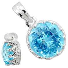 5.00cts natural blue topaz 925 sterling silver handmade pendant jewelry t12171