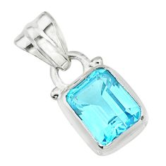 2.98cts natural blue topaz 925 sterling silver pendant jewelry t24034