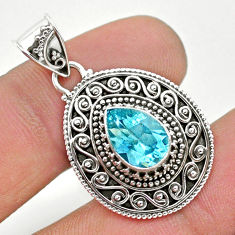 2.44cts natural blue topaz 925 sterling silver pendant jewelry t32565