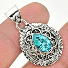 2.46cts natural blue topaz 925 sterling silver pendant jewelry t32582