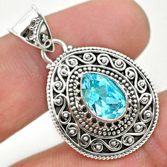 2.49cts natural blue topaz 925 sterling silver pendant jewelry t32615