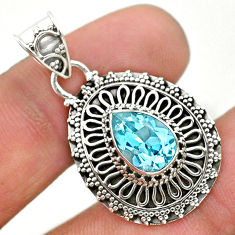 2.50cts natural blue topaz 925 sterling silver pendant jewelry t32636