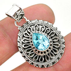2.55cts natural blue topaz 925 sterling silver pendant jewelry t32638