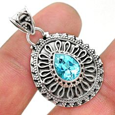 2.32cts natural blue topaz 925 sterling silver handmade pendant jewelry t32640