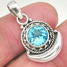 3.05cts natural blue topaz 925 sterling silver pendant jewelry t4270