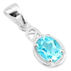 1.86cts natural blue topaz 925 sterling silver pendant jewelry t9026