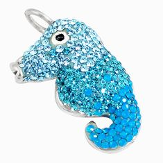 5.84cts natural blue topaz 925 sterling silver seahorse pendant jewelry c16565