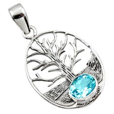 3.52cts natural blue topaz 925 sterling silver tree of life pendant r48293