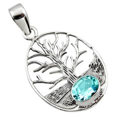 3.52cts natural blue topaz 925 sterling silver tree of life pendant r48297