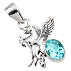 3.31cts natural blue topaz 925 sterling silver unicorn pendant jewelry r48319