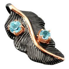 Natural blue topaz black rhodium 925 silver 14k gold pendant jewelry c18235