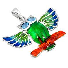 Natural blue topaz enamel 925 sterling silver owl pendant jewelry c16899